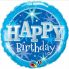 Birthday Blue Sparkle 18 Inch Foil Balloon
