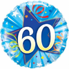 60th Birthday Shining Star Bright Blue 18 Inch Foil Balloon