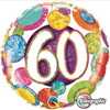 60th Birthday Holographic Big Dots & Gltiz 18 Inch Foil Balloon