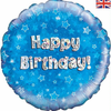 Happy Birthday Holographic Blue 18 Inch Foil Balloon