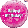 Happy Birthday Holographic Pink 18 Inch Foil Balloon