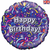Happy Birthday Holographic Streamers 18 Inch Foil Balloon