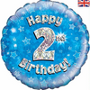 2nd Birthday Holographic Blue 18 Inch Foil Balloon