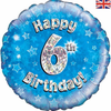 6th Birthday Holographic Blue 18 Inch Foil Balloon