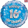 16th Birthday Holographic Blue 18 Inch Foil Balloon