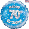70th Birthday Holographic Blue 18 Inch Foil Balloon