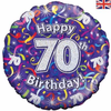 70th Birthday Holographic Streamers 18 Inch Foil Balloon