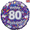 80th Birthday Holographic Streamers 18 Inch Foil Balloon