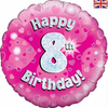 8th Birthday Holographic Pink 18 Inch Foil Balloon