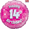 14th Birthday Holographic Pink 18 Inch Foil Balloon