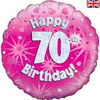 70th Birthday Holographic Pink 18 Inch Foil Balloon