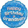 Happy Birthday Grandson Holographic Blue 18 Inch Foil Balloon