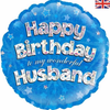 Happy Birthday Husband Holographic Blue 18 Inch Foil Balloon