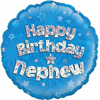 Happy Birthday Nephew Holographic Blue 18 Inch Foil Balloon