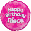 Happy Birthday Niece Holographic Pink 18 Inch Foil Balloon