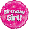 Happy Birthday Girl Holographic Pink 18 Inch Foil Balloon