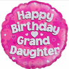 Happy Birthday Grand Daughter Holographic Pink 18 Inch Foil Balloon