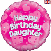 Happy Birthday Daughter Holographic Pink 18 Inch Foil Balloon