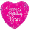 Happy Birthday Gran Pink Heart 18 Inch Foil Balloon