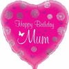 Happy Birthday Mum Pink Heart 18 Inch Foil Balloon
