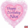 Happy Birthday Nan Pink Heart 18 Inch Foil Balloon