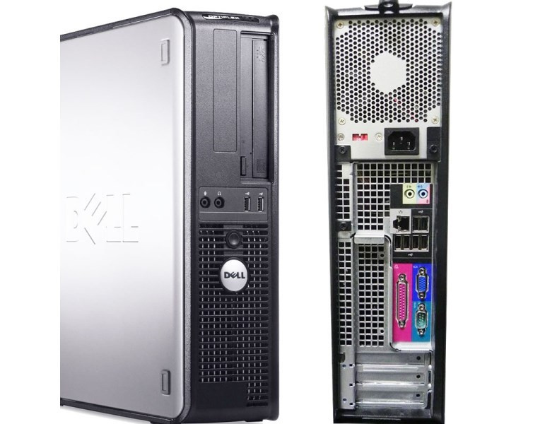 Dell Optiplex 380 Core 2 Duo DT Front and Back interface view