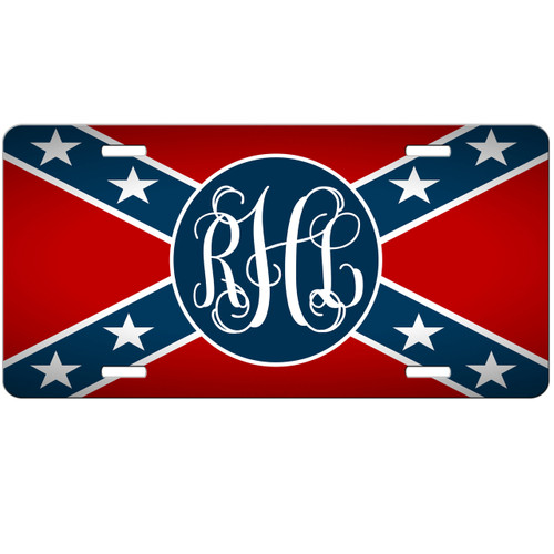 Rebel flag monogrammed car tag confederate personalized license