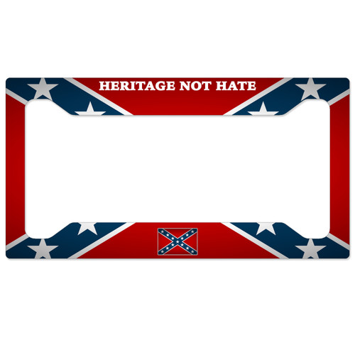 Customized License Plates >> Confederate Flag License Plate Frame - Heritage Not Hate - SimplyCustomized