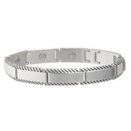 Sabona Brushed Stainless Rope Edge Magnetic Bracelet