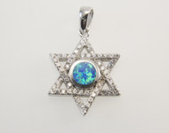 Lab Created Opal and Micro Pave Cubic Zirconia Jewish Star