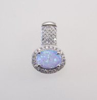 Light Blue Lab Opal with Micro Pave Cubic Zirconia