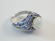 Round Lab Created Opal and Green and Blue French Enamel