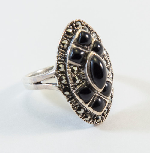 Art Deco Style Black Onyx and Marcasite
