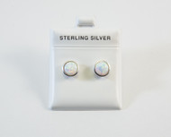 White Lab Created Opal Studs