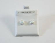Oval-Shaped Lab Created Opal Studs