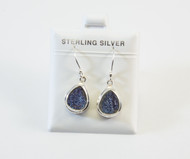 Pear-Shaped Dangling Druzy Quartz Earrings
