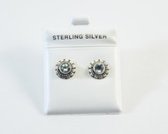 Genuine Blue Topaz Studs with Flower Design