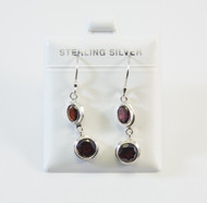 Oval and Round-Shaped Genuine Garnet Balinese Earrings