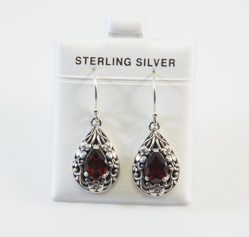Balinese Pear-Shaped Genuine Garnet with Flower Design