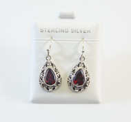 Pear-Shaped Genuine Garnet with Balinese Filigree