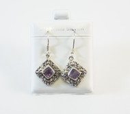 Genuine Diamond-Shaped Amethysts and Balinese Flowery Design
