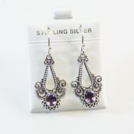 Genuine Pear-Shaped Amethyst and Silver Granulated Dots