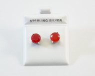Natural Round-Shaped Red Jade Studs
