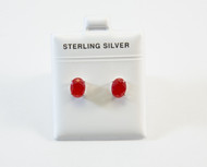 Smaller Oval-Shaped Natural Red Jade Studs
