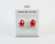 Larger Oval-Shaped Natural Red Jade Studs