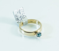 14 KT Gold Ring With Round Brilliant Cut Blue Diamond