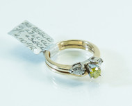 14 KT Gold Yellow and White Diamond Ring
