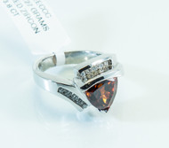 14 KT White Gold Red Zircon and Diamond Ring