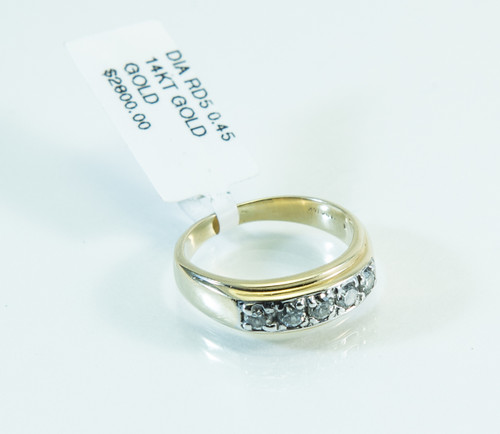 14 KT Gold Thin Band and Diamond Ring