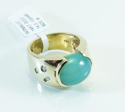 14 KT Gold Chalcedony and Diamond Ring